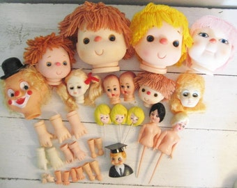 33pc Lot Vintage Doll Parts- Heads, Doll Sticks, Hands, Feet