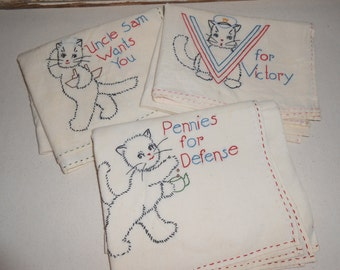 Vintage Uncle Sam Hand Embroidered Dish Towels, Vintage Cat Dish Towels