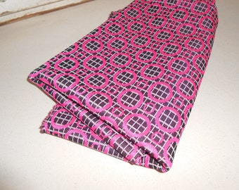 Vintage Polyester Double Knit Fabric, Vintage Hot Pink and Black Fabric, 1970s Fabric