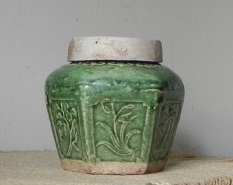 Vintage green asian incense pot container pot with lid celadon green asian pot - hold incense oil perhaps