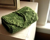 Knit tarot wrap. tarot bag. bright grassy green