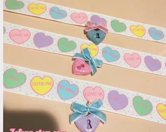 Pastel Conversation Hearts And Heart Lock Bow Ribbon Choker Necklace