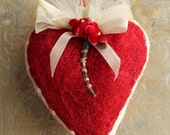 Handmade Red Wool Millinery Heart Valentine - Red Needle Felted Heart with Vintage Trims - Sweet Original Valentine Heart Decoration