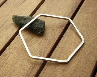 Hexagon silver bangle | smooth silver stacking bangle |  hexagonal jewelry | 10 ga | silver bangle bracelet |  made to order