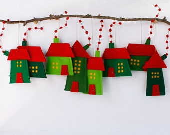 Christmas ornaments Group of eight Felt Houses for decoration for hanging Wall Art Red Green Christmas colors