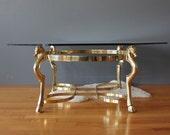 Solid Brass Horse Head & Hoof Brass Coffee Table