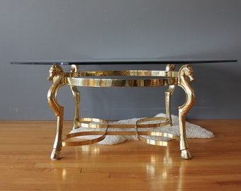 Solid Brass Horse Head & Hoof Brass Coffee Table