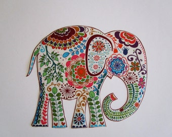 """Large Elephant Iron On Fabric Applique Patch 9"""""""