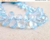 Clearance SALE Sky Blue Topaz Gemstone Briolette Faceted Pear Teardrop Gemstone 9.5mm 6 beads