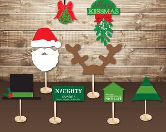 INSTANT DOWNLOAD (Digital) Christmas Party Photo Booth Props - Santa, Top Hat, Elf Hat, Antlers, Naughty Nice Signs, Mistletoe