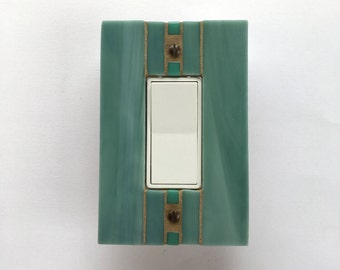 Decorative Wall Plate, Sage Green Switchplate, Light Switch Cover, Decora Switch Plate, Stained Glass Mosaic, Muted Green Rocker, 8344