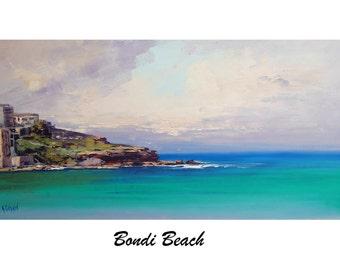BONDI BEACH PAINTING Original oil Seascape Impressionist Surf Wall Art