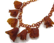 1930s Celluloid Flower Necklace - Fringe, Costume Jewelry