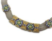 Sterling Enamel Necklace - Turkish Silver, Foxtail Chain, Byzantine Jewelry, Festoon