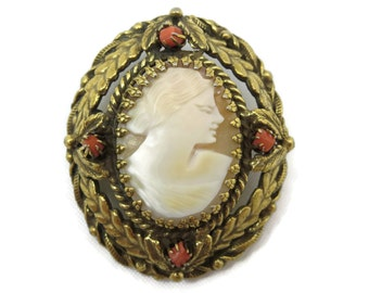 Cameo Brooch - Carved Shell, Coral Beads
