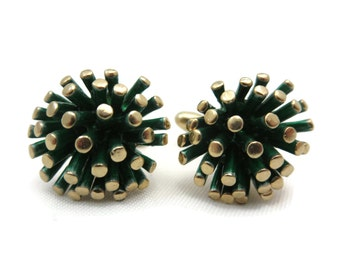 Mid Century Modern Cufflinks - MCM Gold Green Enamel, Brutalist, Hickok Cuff Links