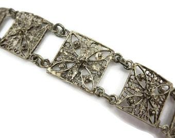 Silver Filigree Bracelet - Square Links