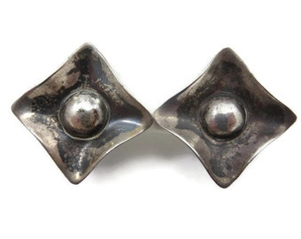 Mid Century Modern Earrings - Sterling Silver, Screwback