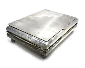 Silver Plated Desk Box - Handmade by Sciarrotta, Wood Lined, Cigarette Box