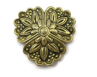 Brass Dress Clip - Vintage Repousse