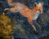 ON SALE Fox in the Stars - 11X14 print | starlight fox, woodland wall art, fox spirit animal, witch pagan art, constellation fox  | by Melus