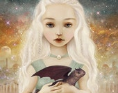 ON SALE Mother of Dragons print | 8X8 dragon art, baby dragons poster, fantasy landscape, dragon princess, baby art nursery - by Meluseena