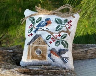 Bluebirds & Bird House Cross Stitch Mini Pillow Home Decor