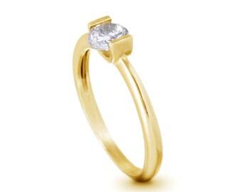Round Engagement Ring , 14K yellow Gold Zircon Engagement Ring , Unique Engagement Ring , Gold and Zircon Ring , Anniversary Ring