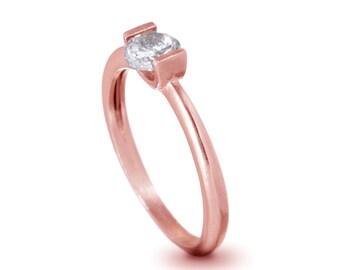 Round Engagement Ring , 14K Rose Gold Diamond Engagement Ring , Unique Engagement Ring , Gold and Diamond Ring , Anniversary Ring