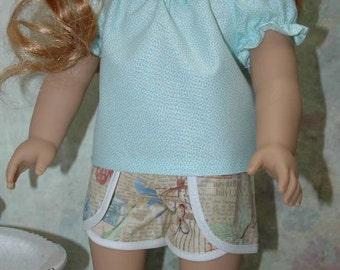 18 inch doll clothes, blouse, shirt, shorts,