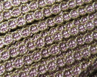 2 Yards Vintage Delicate Narrow Metallic Trim In Gold And Lavender Old Store Stock  MT 45