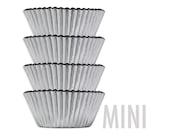 Mini Silver Metallic Foil Baking Cups - 45 shiny silver foil paper cupcake liners