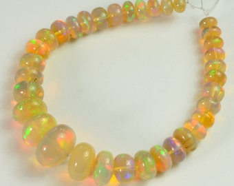 5mm-10.3mm Fine Ethiopian Welo Opal Smooth Rondelle Beads 6 inch Strand
