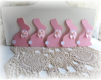 Shabby Chic Pink Bunny Tags Set of 5 Cottage chic Shabby baby Shower decor Birthday decor
