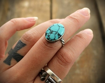 READY TO SHIP - Sterling Turquoise Cocktail Ring -  Size 6
