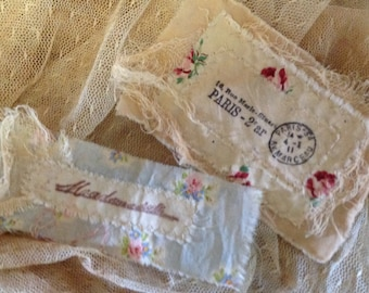 DIY Mademoiselle Hand Stamped Trim - Perfect for layering on sachets - Crazy Quilting - Journaling