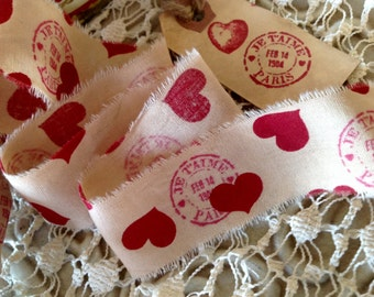 Vintage  Je t'aime Paris Feb. 14 1900 & Lovely Hearts - Distressed  Hand Stamped Trim