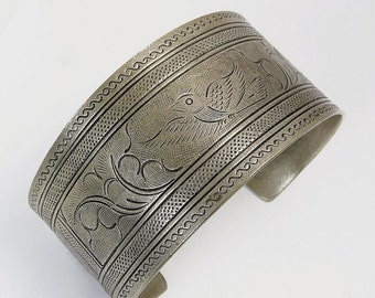Vintage Ethnic Tribal Silver Plate Cuff Bracelet