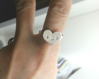 Custom Initial Ring Big Heart Ring Personalized Heart Ring Valentine Jewelry