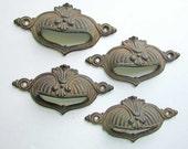 Set of 4 Antique 1890's  Vintage Ornate Cast Iron Bin, Drawer, Desk Pulls w Old  Surface Finish, Antique Hardware, Architectural Accent