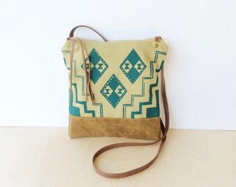 weekdayer - large • crossbody bag - geometric print • teal geometric print - screenprint - waxed canvas - iPad bag • vukani