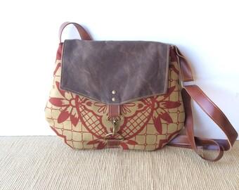 satchel • waxed canvas crossbody bag - geometric floral print • hand printed khaki canvas - red floral print - brown waxed canvas • talavera