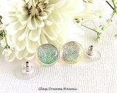 Sheer Glass Stud Earrings, Clear Sparkle Glass Studs, Fused Glass Earrings, Hawaii Handmade, Dichroic Glass Jewelry, Fashion Earrings