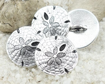 Antique Silver Button Clasp Findings TierraCast Sand Dollar Button Sanddollar Leather Jewelry Findings Closure Beach Jewelry Supply (P1300)