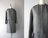 1960s Suit / Vintage 60s Minimalist Suit / Gray Wool Mod Sixties Suit Set