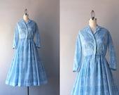 Vintage Jerry Gilden Dress / 1950s Sheer Exotic Blue Day Dress / 50s Jerry Gilden Dress