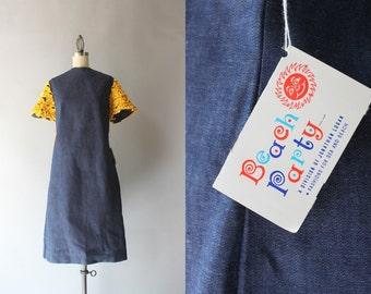 1960s Dress / Vintage 60s Beach Party Dress / Sixties Jonathan Logan Mod Denim Dress