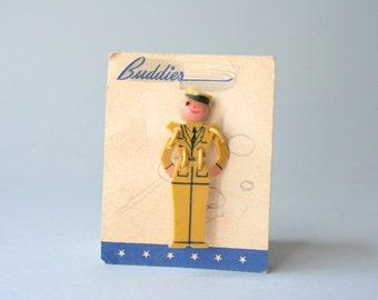 1940s Buddies Brooch / Vintage 40s Segmented Celluloid Novelty Pin / World War Two Era Buddy Brooch