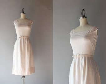1950s Linen Dress / Vintage 50s Dress / Fifties Natural Linen Wiggle Dress