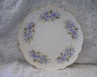 Vintage Aynsley Plate ~ Floral Bone China Flowers Blue Purple